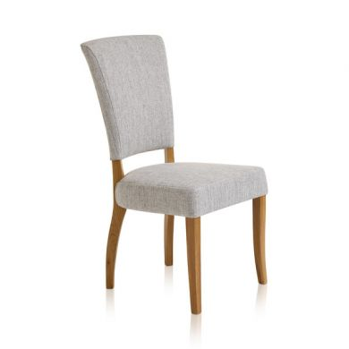 Upholstered Curve Back Plain Grey Fabric Chair with Solid Oak Legs