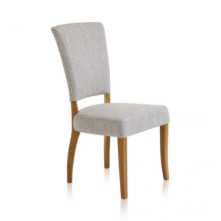 Upholstered Curve Back Plain Grey Fabric Chair with Solid Oak Legs - Image 3