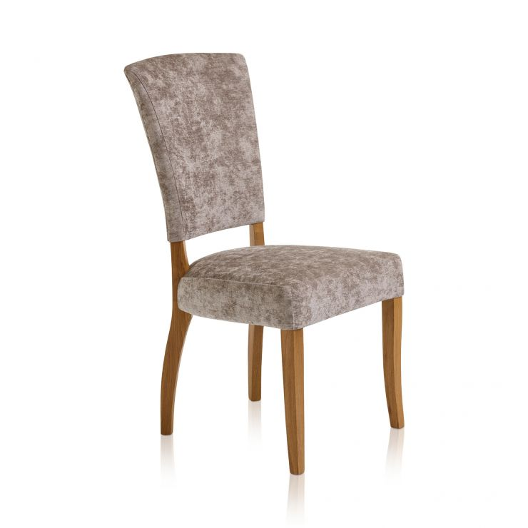 Upholstered Curve Back Plain Truffle Fabric Chair with Solid Oak Legs - Image 3