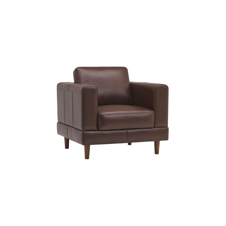 Versailles Walnut Brown Leather Armchair - Image 1