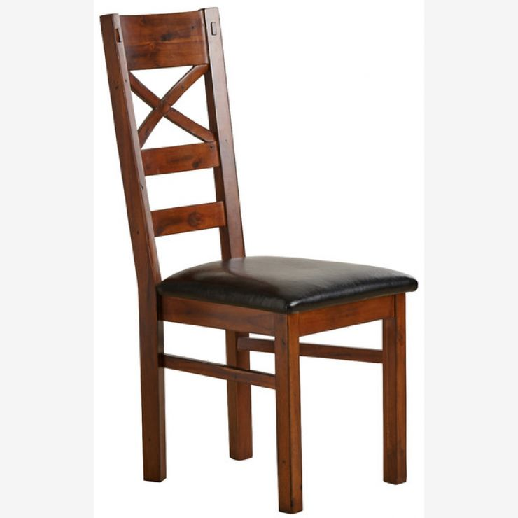 Victoria Solid Hardwood and Black Leather Dining Chair - Image 4