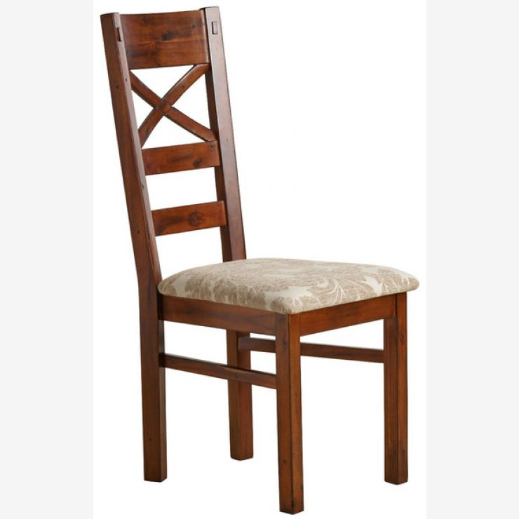 Victoria Solid Hardwood and Patterned Beige Fabric Dining Chair - Image 4