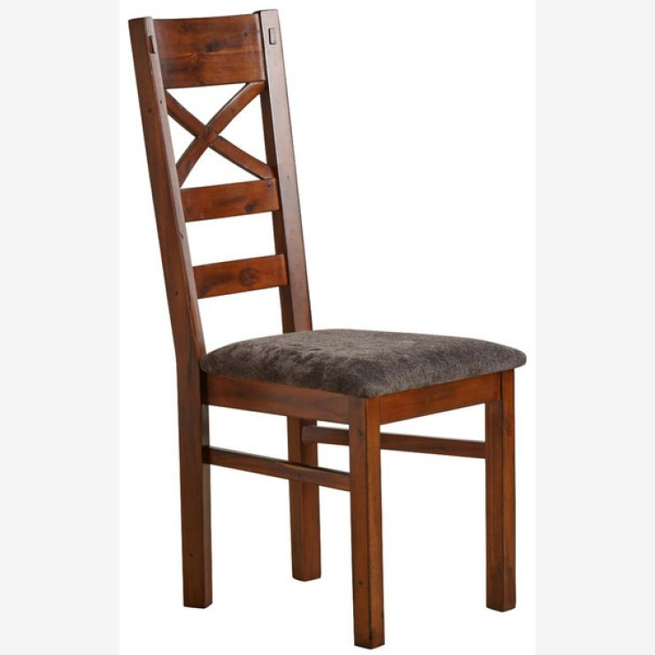 Victoria Solid Hardwood and Plain Charcoal Fabric Dining Chair - Image 4