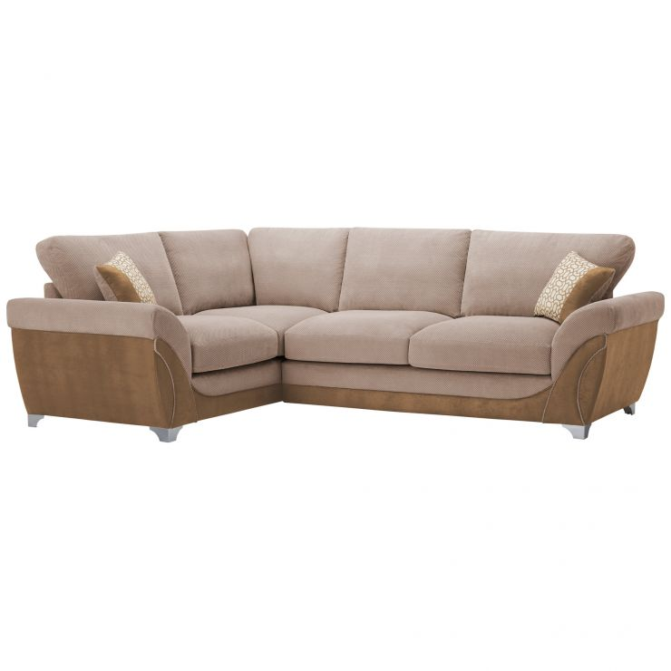 Vienna Right Hand High Back Corner Sofa in Aero Fawn Fabric with Cream Scatters - Image 9