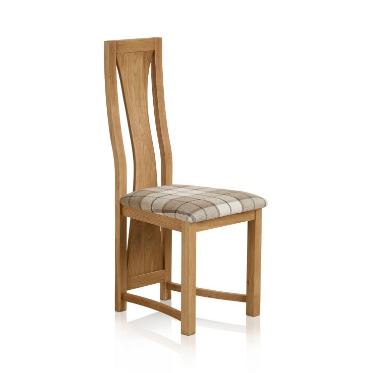 Waterfall Natural Solid Oak and Checked Brown Fabric Dining Chair - Image 1