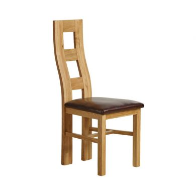 Wave Back Solid Oak and Brown Leather Dining Chair