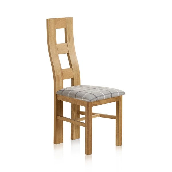 Wave Back Natural Solid Oak and Check Granite Fabric Dining Chair