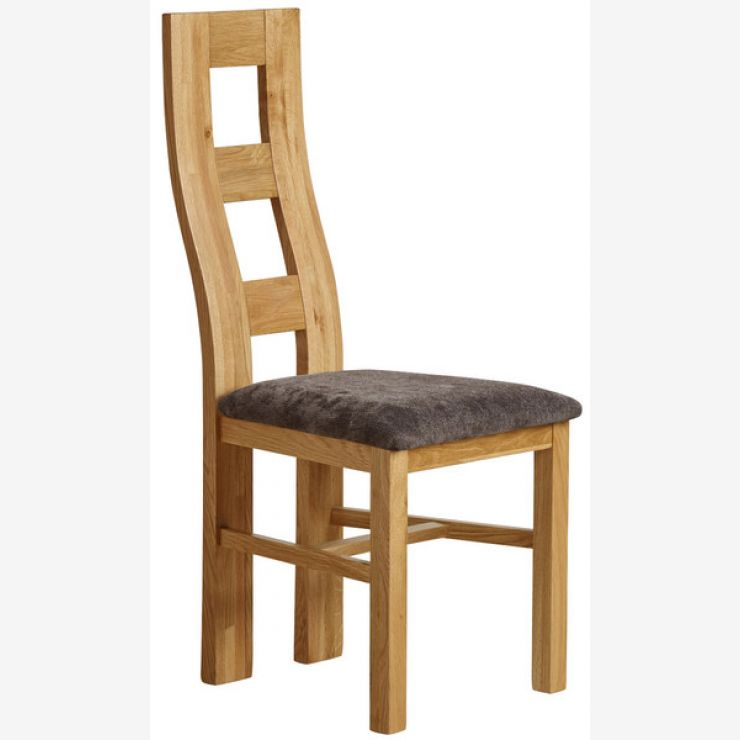 Wave Back Natural Solid Oak and Plain Charcoal Fabric Dining Chair - Image 4