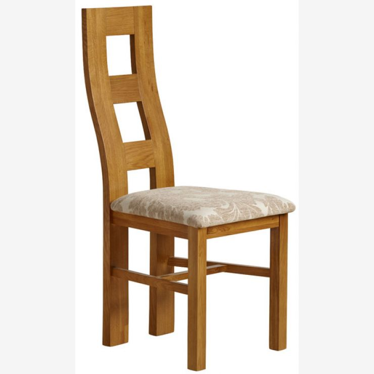 Wave Back Rustic Solid Oak and Beige Patterned Fabric Dining Chair
