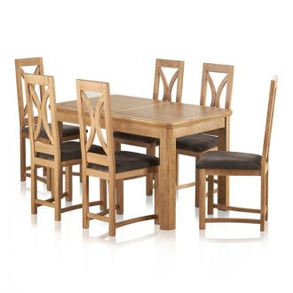 "Wiltshire Natural Solid Oak 4ft 3"" Extending Dining Set with 6 Loop Back and Charcoal Fabric Chairs"