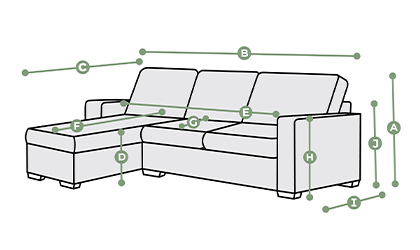 Brighton Left Hand Chaise Sofa Dimensions