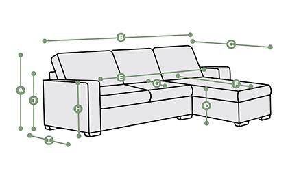 Brighton Right Hand Chaise Sofa Dimensions