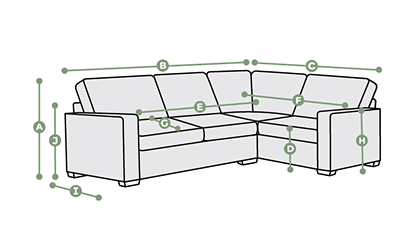 Evie Corner Sofa Left Hand Dimensions