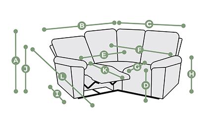 Goodwood Modular 3 Seat Corner Recliner Dimensions