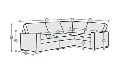 Morgan Modular 4 Seat Corner Sofa Dimensions