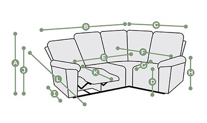 Goodwood Modular 4 Seat Corner Recliner Dimensions