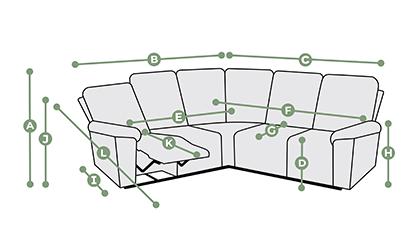 Goodwood Modular 5 Seat Corner Recliner Dimensions