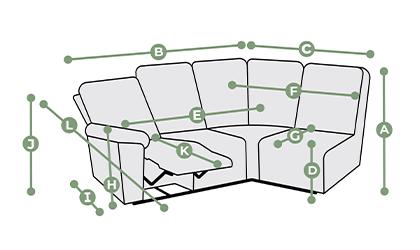 Goodwood Modular 4 Seat Left Hand Corner Recliner Dimensions
