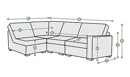 Morgan Modular 4 Seat Right Hand Corner Sofa Dimensions