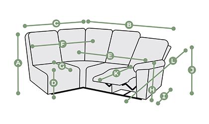 Goodwood Modular 4 Seat Right Hand Corner Recliner Dimensions