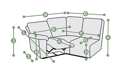 Goodwood Modular 3 Seat Left Hand Corner Recliner Dimensions