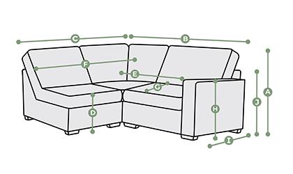 Morgan Modular 3 Seat Right Hand Corner Sofa Dimensions