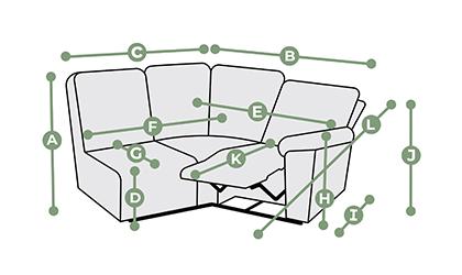 Goodwood Modular 3 Seat Right Hand Corner Recliner Dimensions