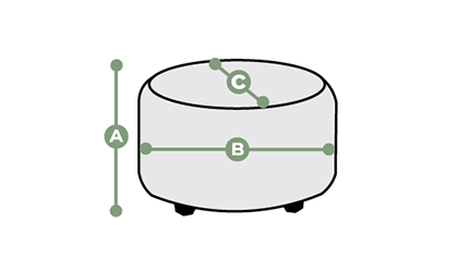 Boulevard Round Footstool Dimensions