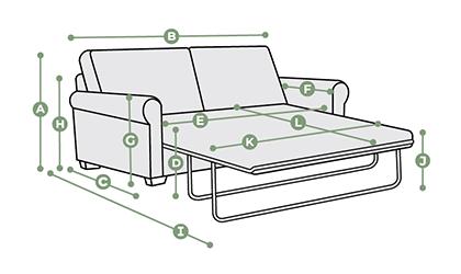 Jasmine 2 Seater Sofa Bed Dimensions