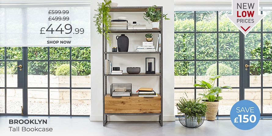 Brooklyn Natural Solid Oak and Metal Tall Bookcase